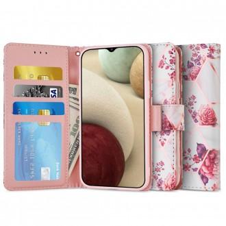 Atverčiamas gėlėtas dėklas/piniginė Tech-Protect GALAXY A12 telefonui