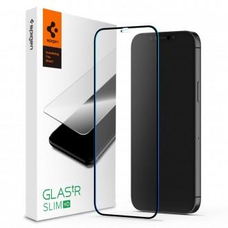"Juodais krašteliais apsauginis grūdintas stiklas iPhone 12 / 12 Pro telefonui ""Spigen Glass Fc"""