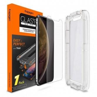 """Skaidrus apsauginis grūdintas stiklas Apple Iphone 11 Pro telefonui """"Spigen Glas.Tr. Ez Fit"""""""