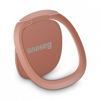"""Rožinis-Auksinis universalus telefono laikiklis ant piršto - žiedas """"BASEUS INVISIBLE MAGNETIC"""""""