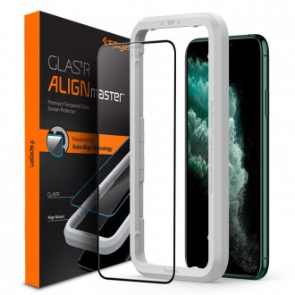 "Juodas apsauginis grūdintas stiklas Apple Iphone X / XS / 11 Pro telefonui ""Spigen Glass Fc"""