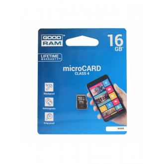 Atminties korta GOODRAM MicroSD 16Gb be adapterio