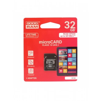 Atminties korta GOODRAM MicroSD 32Gb (class 10) + SD adapter