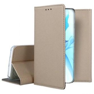 """Auksinės spalvos atverčiamas dėklas Apple iPhone 12 / 12 Pro telefonui """"Smart Magnet"""""""