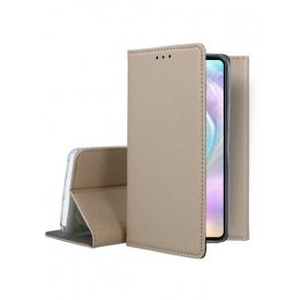 """Auksinės spalvos atverčiamas dėklas Huawei P30 telefonui """"Smart Magnet"""""""