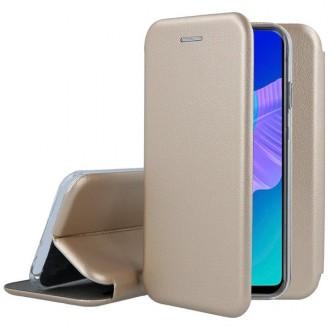 """Auksinės spalvos atverčiamas dėklas Huawei P40 Lite E / Y7 P telefonui """"Book elegance"""""""
