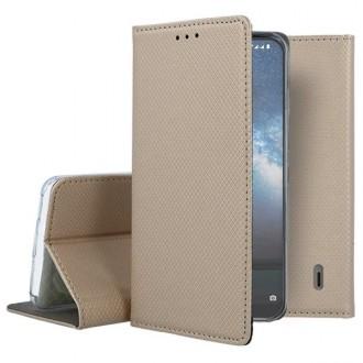 """Auksinės spalvos atverčiamas dėklas Nokia 2.2 telefonui """"Smart Magnet"""""""