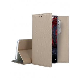 """Auksinės spalvos atverčiamas dėklas Nokia 6.1 Plus X6 2018 telefonui """"Smart Magnet"""""""