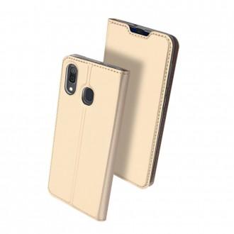 """Auksinės spalvos atverčiamas dėklas Samsung A202 A20e telefonui """"Dux Ducis Skin"""""""
