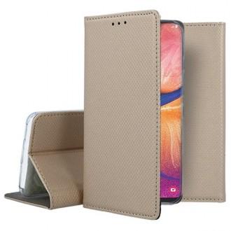 """Auksinės spalvos atverčiamas dėklas Samsung Galaxy A202F A20e telefonui """"Smart Magnet"""""""