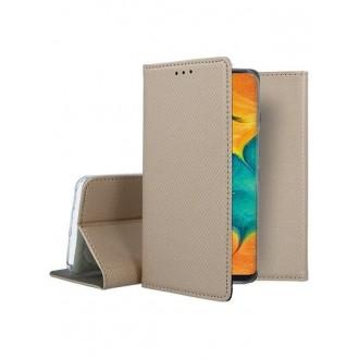 "Auksinės spalvos atverčiamas dėklas Samsung Galaxy A205 A20 / A305 A30 telefonui ""Smart Magnet"""