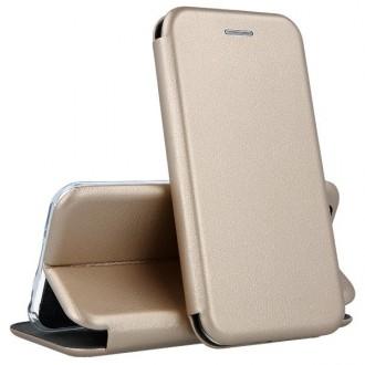 """Auksinės spalvos atverčiamas dėklas Samsung Galaxy A31 telefonui """"Book elegance"""""""