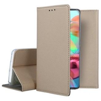 """Auksinės spalvos atverčiamas dėklas Samsung Galaxy A715 A71 telefonui """"Smart Magnet"""""""