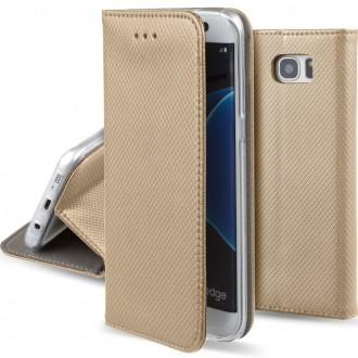 """Auksinės spalvos atverčiamas dėklas Samsung Galaxy G935 S7 Edge telefonui """"Smart Magnet"""""""