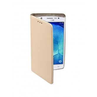 """Auksinės spalvos atverčiamas dėklas Samsung Galaxy (J500) J5 telefonui """"Smart Book Magnet"""""""