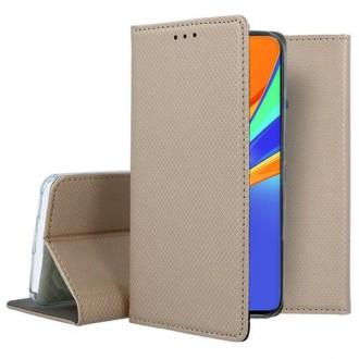 """Auksinės spalvos atverčiamas dėklas Xiaomi Redmi Note 10 / 10s telefonui """"Smart Magnet"""""""