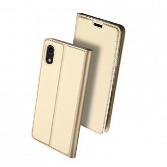 """Auksinis atverčiamas dėklas Apple iPhone XR telefonui """"Dux Ducis Skin"""""""