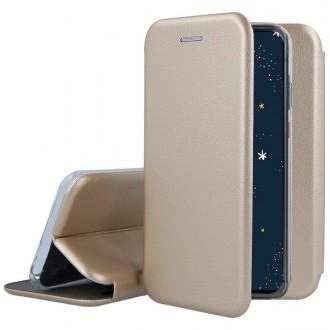"""Auksinis atverčiamas dėklas Huawei P30 Lite telefonui """"Book Elegance"""""""