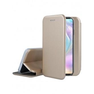 """Auksinis atverčiamas dėklas Huawei P30 telefonui """"Book Elegance"""""""