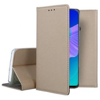 """Auksinis atverčiamas dėklas Huawei P40 Lite E telefonui """"Smart Book Magnet"""""""