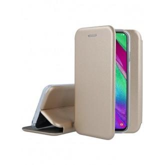"""Auksinis atverčiamas dėklas Samsung Galaxy A405 A40 telefonui """"Book Elegance"""""""