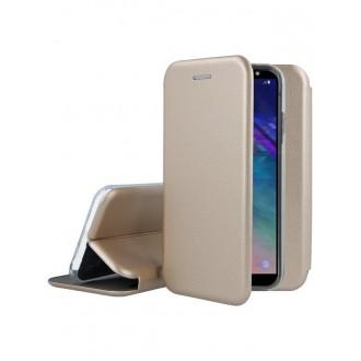 """Auksinis atverčiamas dėklas Samsung Galaxy A600 A6 2018 telefonui """"Book Elegance"""""""