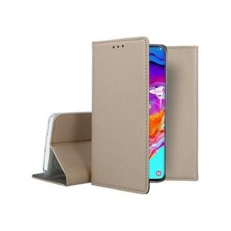 """Auksinis atverčiamas dėklas Samsung Galaxy A705 A70 telefonui """"Smart Magnet"""""""