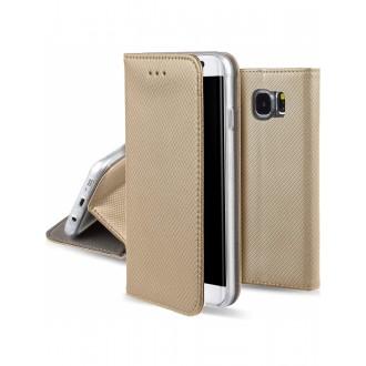 """Auksinis atverčiamas dėklas Samsung Galaxy G920 S6 telefonui """"Smart Magnet"""""""