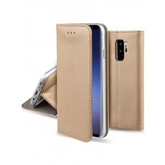 """Auksinis atverčiamas dėklas Samsung Galaxy G965 S9 Plus telefonui """"Smart Magnet"""""""