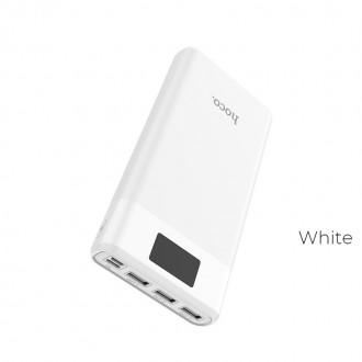 Balta išorinė baterija Power Bank Hoco J41 su LCD ekranu 10000mAh