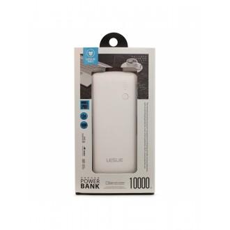 Balta išorinė baterija POWER BANK Leslie LP005 10000mAh