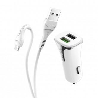 Baltas automobilinis įkroviklis HOCO Z31 Quick Charge 3.0 su 2 USB jungtimis + microUSB
