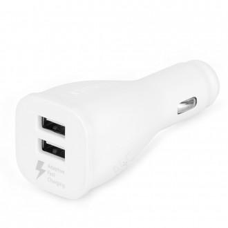 Baltas automobilinis įkroviklis spartaus įkrovimo 3.0 2.4A USB