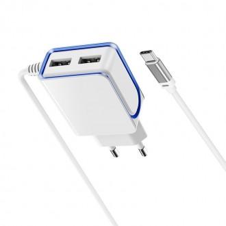 Baltas buitinis įkroviklis Borofone BA35A su dviem USB jungtimis + Type-C