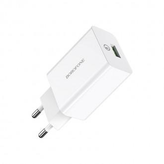 Baltas buitinis įkroviklis buitinis Borofone BA21A su dviem USB jungtimis QC3.0 (3A)