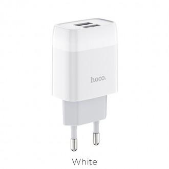 Baltas buitinis įkroviklis Hoco C73A su 2 USB jungtimis (2.4A)
