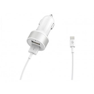 Baltas įkroviklis automobilinis Devia Smart su 2 USB jungtimis (2.4A) + Lightning