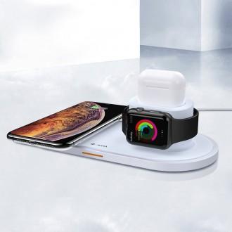Baltas įkroviklis belaidis Devia 3in1 Smart Phone, Apple Watch, Airpods