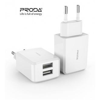 Baltas įkroviklis buitinis Proda PD-A22 su dviem USB jungtimis + microUSB 2.1A