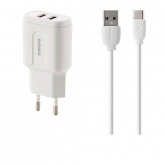 Baltas įkroviklis buitinis Remax RP-U22m Pro su dviem USB jungtimis 2.4A + microUSB
