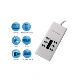 """Baltas įkroviklis buitinis su 6 USB jungtimis """"Multicharger XU600"""" (7.2A)"""