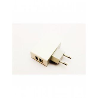 Baltas įkroviklis buitinis su USB jungtimi (dual) (1A+2A)
