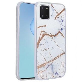 """Baltas silikoninis dėklas Samsung Galaxy  Note 10 Lite / A81 telefonui """"Marmur"""""""