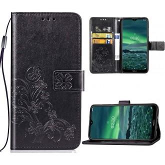 """Juodas atverčiamas dėklas """"Gėlių knyga"""" telefonui Samsung Galaxy A22 4G"""