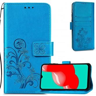 """Mėlynas atverčiamas dėklas """"Gėlių knyga"""" telefonui Samsung Galaxy A22 4G"""