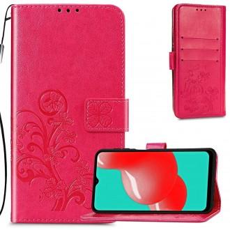 """Raudonas atverčiamas dėklas """"Gėlių knyga"""" telefonui Samsung Galaxy A22 4G"""
