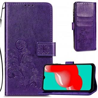 """Violetinis atverčiamas dėklas """"Gėlių knyga"""" telefonui Samsung Galaxy A22 4G"""