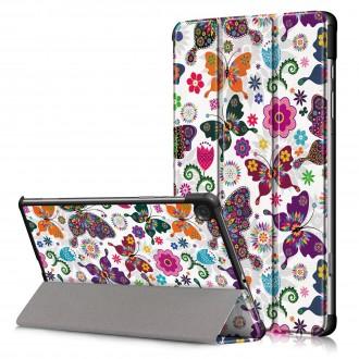 """Drugelių spalvos atverčiamas dėklas Samsung Tab S6 Lite""""Smart Leather"""""""