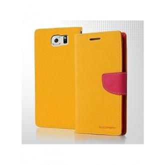 """Geltonas atverčiamas dėklas Samsung Galaxy G920 S6 telefonui Mercury Goospery """"Fancy Diary"""""""