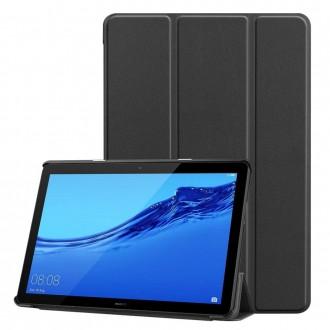 """Juodas atverčiamas dėklas Huawei MediaPad T5 10.1 """"Smart Leather"""""""